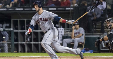 Cleveland Indians catcher Yan Gomes doubles against the White Sox on Sept. 24, 2018, at Guaranteed Rate Field in Chicago.