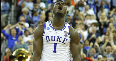 Zion Williamson of Duke lets out a yell on the court during the 2018-19 season.
