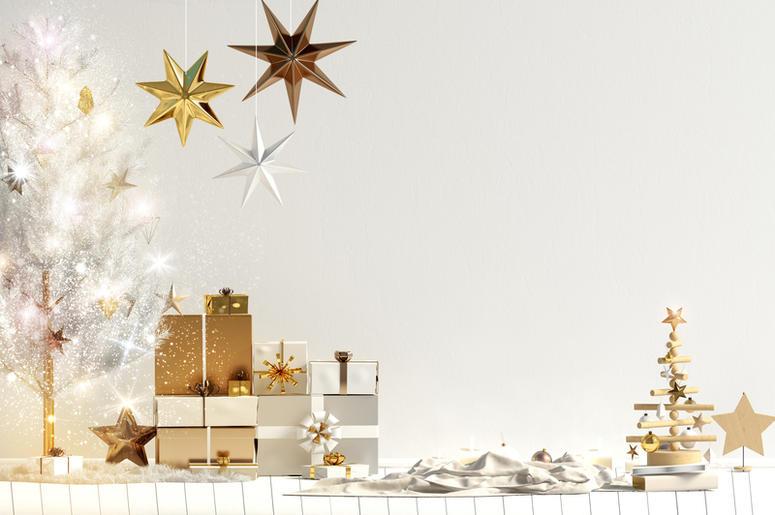 Modern Christmas interior, Scandinavian style. Room, colors.