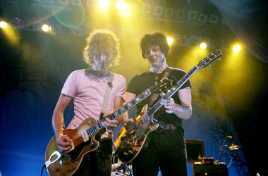 Brendan Benson, left, and Jack White of The Raconteurs perform at the Fillmore in Detroit