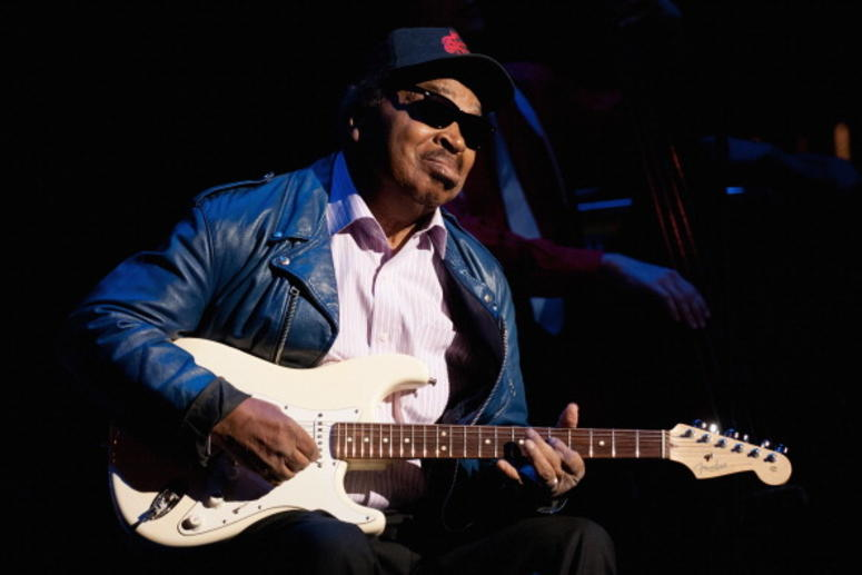 Matt 'Guitar' Murphy performs during the official Blues Brothers Revue at the Rialto Theater on March 5, 2012 in Joliet, Illinois.