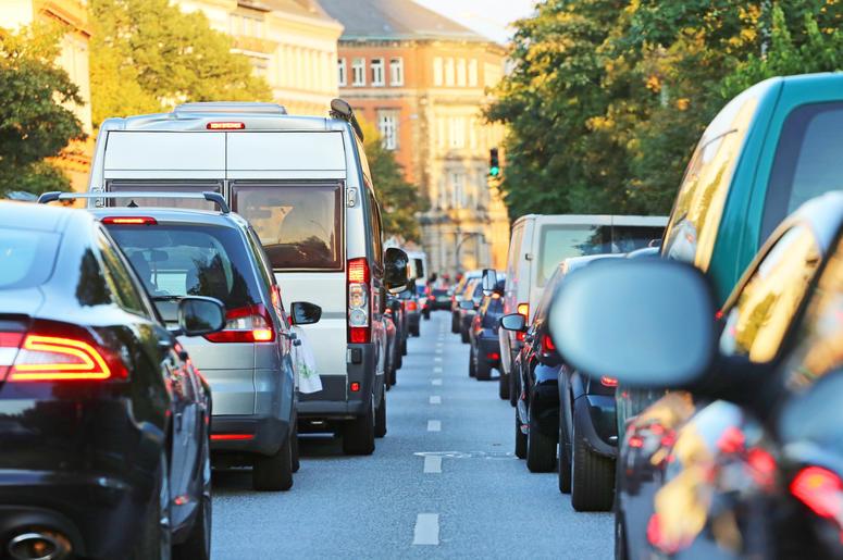 Cars in a traffic jam