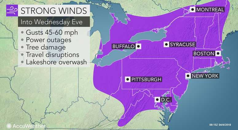 AccuWeather wind forecast for April 4, 2018