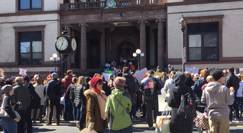 A crowd gathers for a gun control rally in Hoboken.