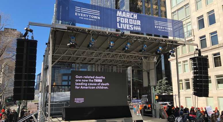 A stage erected for the 'March For Our Lives' rally in New York City.