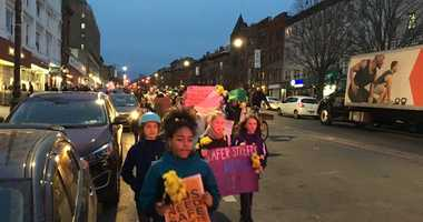 Parents and kids march for safer streets in Park Slope.