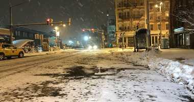Snow was still falling in Hoboken, early Thursday morning.