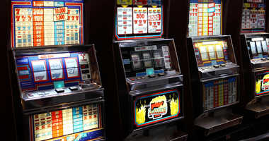 Some slot machines in the casino.