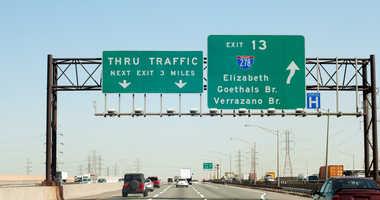 The New Jersey Turnpike near Elizabeth.