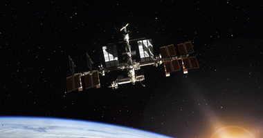 Space Station Orbiting Earth. Elements of this image furnished by NASA
