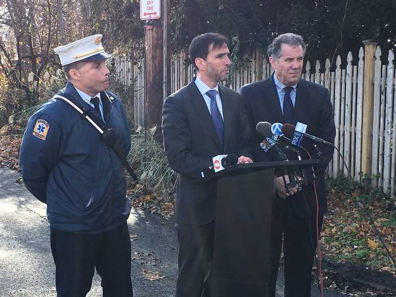 New Rochelle Fire Chief Andy Sandor, Mayor Noam Bramson and City Manager Chuck Strome discuss a fire that destroyed the Wildcliff mansion on Nov. 26, 2018. New Rochelle Wildcliff fire