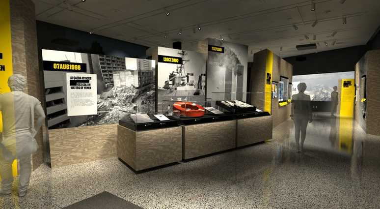"In this artist's rendering provided by C&G Partners, the exhibit ""Revealed: The Hunt for Bin Laden,"" is shown at the National September 11 Museum in New York."