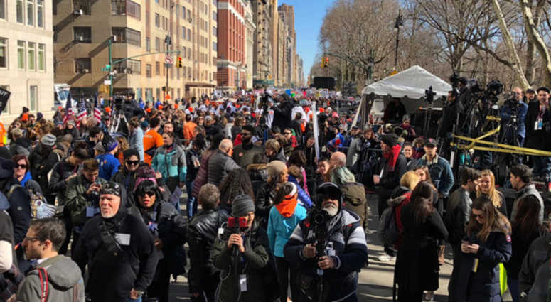 Demonstrators at the March for Our Lives Rally in New York City