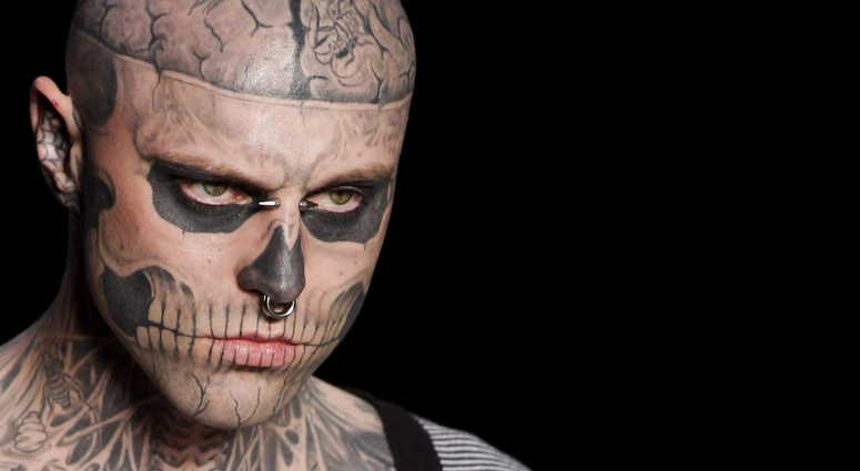 In this Saturday, June 4, 2011 file photo, Canadian model Rick Genest, aka Zombie Boy.