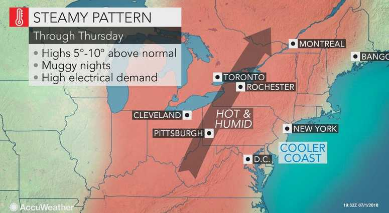AccuWeather map for July 2, 2018.