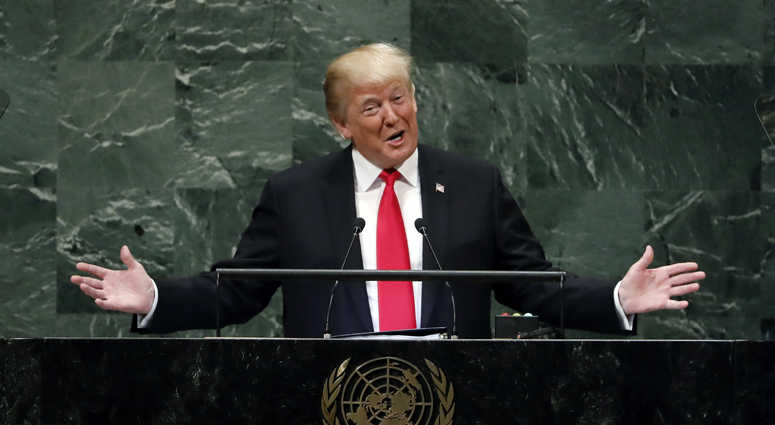President Donald Trump addresses the 73rd session of the United Nations General Assembly, at U.N. headquarters, Tuesday, Sept. 25, 2018.