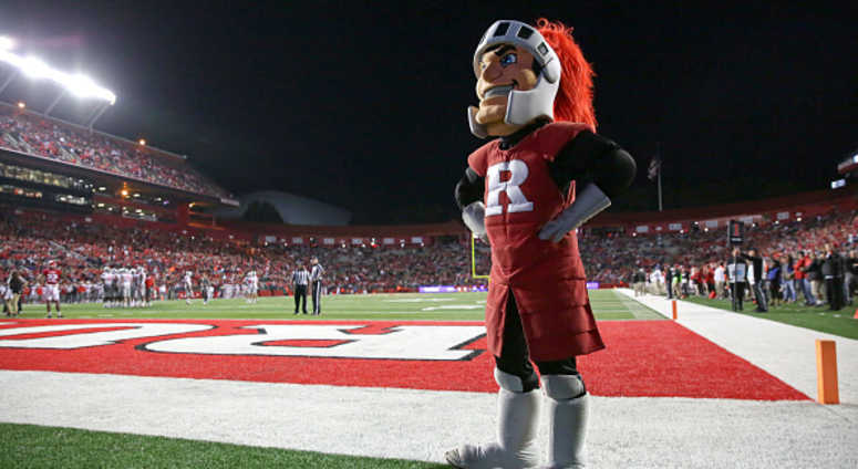 The Rutgers Scarlet Knights mascot stands on the field during a game against the Ohio State Buckeyes