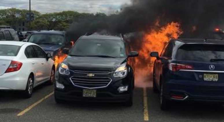 Seven vehicles were damaged after drivers parked on top of hot coals at the Meadowlands on Sunday.
