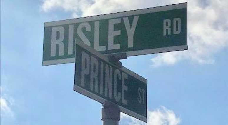 The intersection of Risley Road and Prince Street in Patchogue.