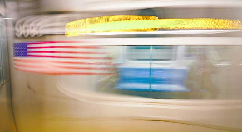 An image of a subway train in New York City.