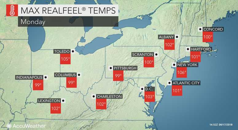 AccuWeather forecast for Monday June 18, 2018.