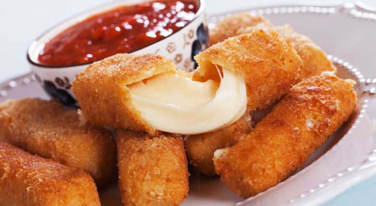 Breaded mozzarella sticks.