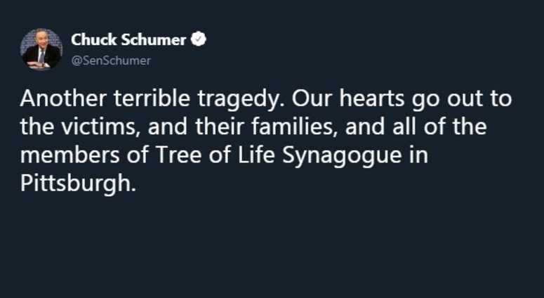 schumer tweet synagogue shooting