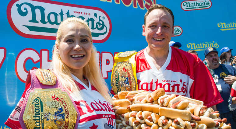 acff920f Joey Chestnut, Miki Sudo Remain Undefeated In Nathan's Hot Dog ...