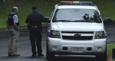 """Authorities respond to a shooting in Harford County, Md., on Thursday, Sept. 20, 2018. Authorities say multiple people have been shot in northeast Maryland in what the FBI is describing as an """"active shooter situation."""""""