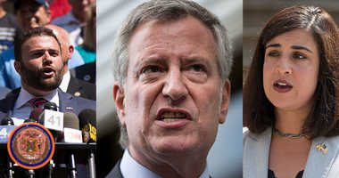 Councilman Joe Borelli, Mayor Bill de Blasio, and Assemblywoman Nicole Malliotakis.