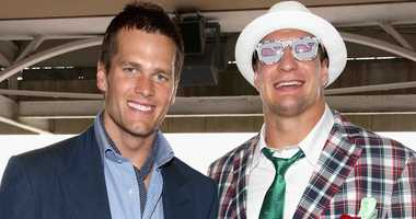Tom Brady and Rob Gronkowski of the New England Patriots pose for photos at the 2017 Kentucky Derby.
