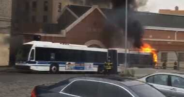 MTA bus on fire