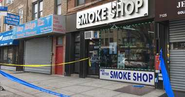 Investigation continues into shooting of a clerk at this #BayRidge smoke shop during a robbery last night. He's expected to recover.