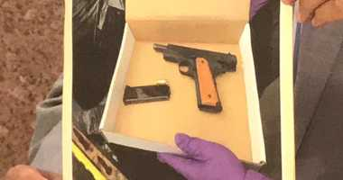 A  gun recovered at the scene where a cop was shot in Bed Stuy.