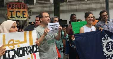 Rally in support of ICE detained pizza deliveryman.