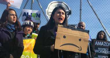 Amazon protest Woodside
