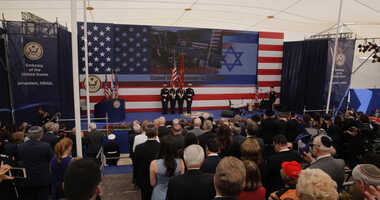 Presentation of colors by U.S Marines and singing of the U.S national anthem during the opening ceremony of the new US embassy in Jerusalem, Monday, May 14, 2018.