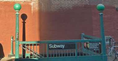 G train station in Boerum Hill, Brooklyn.