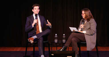 OCTOBER 06: John Mulaney and Susan Morris speak on stage during the 2018 New Yorker Festival on October 6, 2018 in New York City.