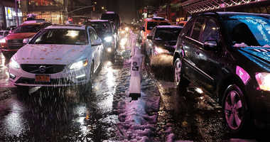 Slushy snow New York City
