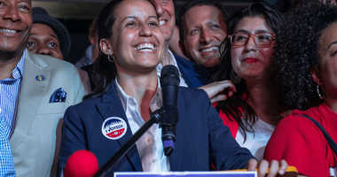 Public defender Tiffany Caban declares victory in the Queens District Attorney Democratic Primary election at her campaign watch party at La Boom nightclub