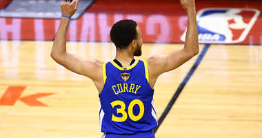 Stephen Curry celebrates an NBA Finals victory.