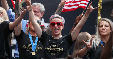 Megan Rapinoe celebrates during the U.S. Women's National Soccer Team Victory Parade and City Hall Ceremony on July 10, 2019 in New York City