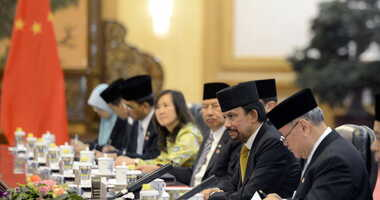 Sultan Hassanal Bolkiah of Brunei talks with Chinese President Xi Jinping