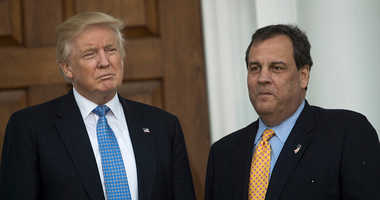 President-elect Donald Trump and New Jersey Governor Chris Christie stand together before their meeting at Trump International Golf Club.