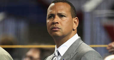 Alex Rodriguez watches the All-Star Game.