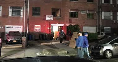 Fire scene on 71st street Jackson Heights where two little girls critically hurt overnight.