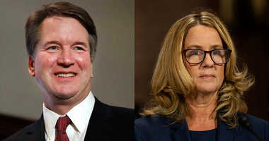 Brett Kavanaugh (L) and Christine Blasey Ford (R)