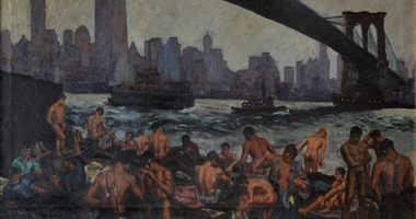 Edward Casey, Stevedores Bathing Under Brooklyn Bridge, 1939