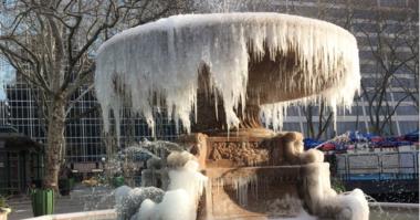 Frozen Bryant Park fountain